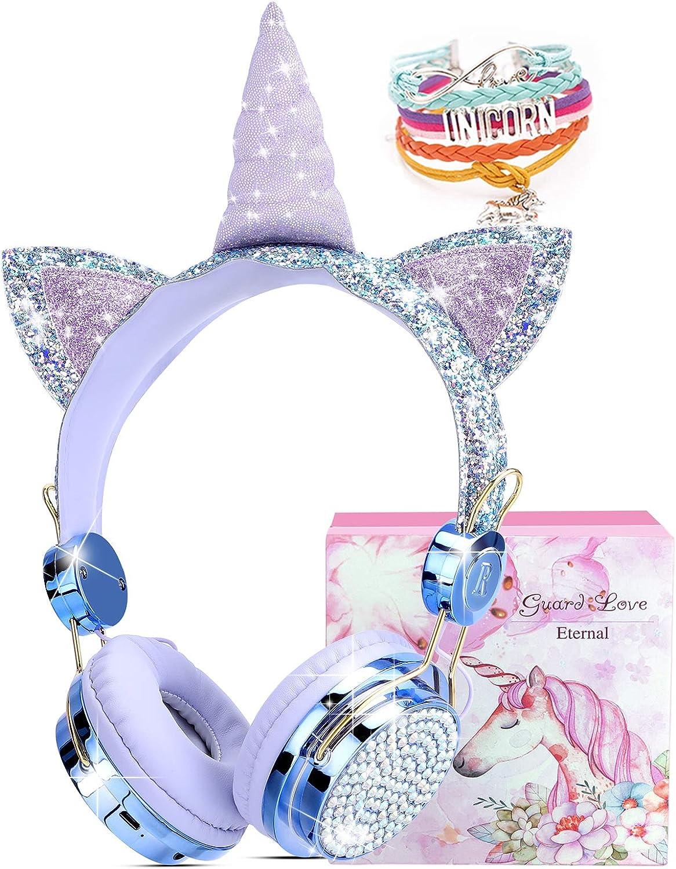Unicorn Kids Headphones for Girls Children Teens, Wired Headphones w/Microphone 3.5mm Jack, Over On Ear Headset for School Birthday Xmas Unicorn Gift (Fairy Blue)