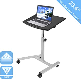 Seville Classics Tilting Mobile Laptop Computer Desk Cart with Stopper Ledge, Height-Adjustable from 23.6 to 36.4