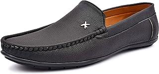 VON HUETTE Men's Black/Brown Panny Loafer Shoes