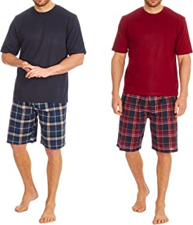 Mens Pyjamas Set Short Sleeve T-Shirt Top & Woven Shorts Pants