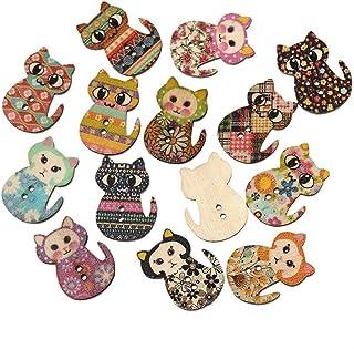 Botões de madeira Tinksky multicoloridos em forma de gato, 2 furos, impressão de madeira, botões de costura para costura e...