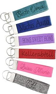 Schlüsselanhänger graviert mit individuellem Text in 27 Filz-Farben - mit Text, personalisiert, Gravur Name Wunschtext Sch...
