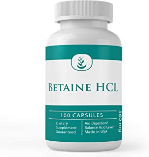 Sponsored Ad - Betaine HCL, 560 mg Serving, 100 Capsules, Pure & Potent, Non-GMO, Gluten-Free, Lab-Tested, No Stearates or...