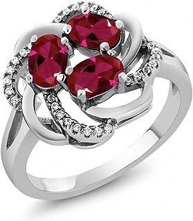 1.87 克拉 椭圆形 红色 人造红宝石 搭配 白色 锆石 925银