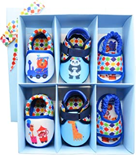 KazarMax Anti-Skid Breathable Soft & Comfortable Animal Train Boy Printed Born Baby Winter Pack of 3 Booties Gift Set - TOOTSIES/Shoes