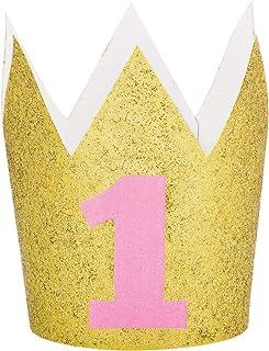 تاج فتيات في اول عيد ميلاد من كرياتيف كونفيرتينغ، زهري / ذهبي لامع