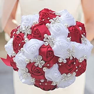 S-SSOY Customizable Romantic Wedding Bouquets Silk Flowers Bridal Holding Roses Bride Bridesmaid Brooch Bouquet with Pearl Diamond Crystal Ribbon Valentine's Day Free Corsage (Wine Red+White)