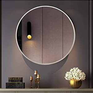 BEAUTYPEAK Circle Mirror Silver 18 Inch Wall Mounted Round Mirror with Brushed Metal Frame for Bathroom, Vanity, Living Room, Bedroom, Entryway Wall Decor (Silver, 18 Inches)