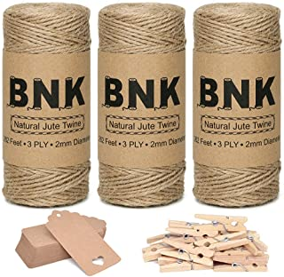BNK 787 Feet Natural Jute Twine for Gift Wrapping String Kit with Kraft Paper Gift Tags, Wooden Clips, for Arts Crafts DIY...