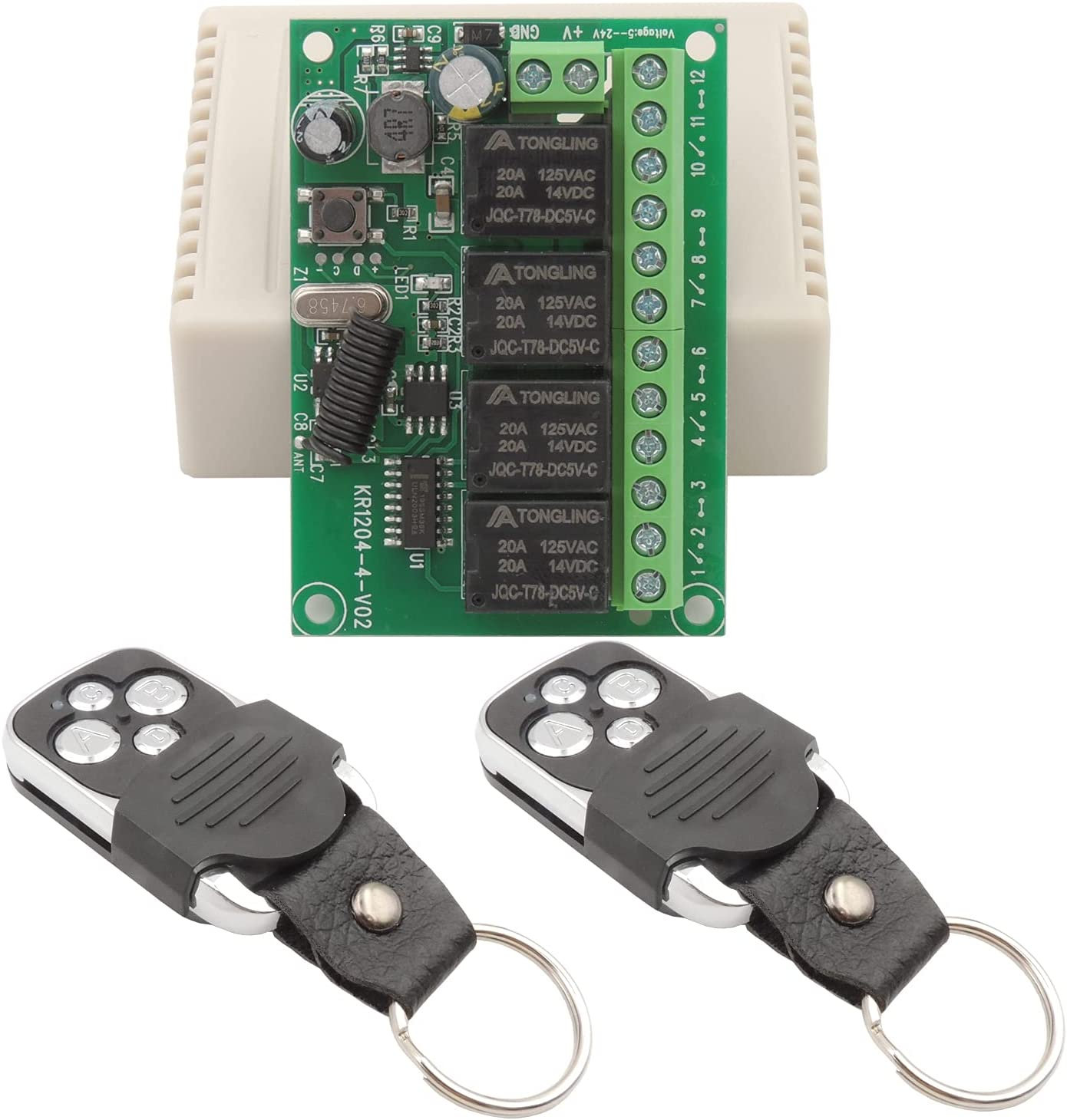 Interruptor de relé inalámbrico 12 V 24 V 4 canales DC 6 – 30 V 433 MHz RF módulo receptor universal 4 CH con 2 transmisores, mando a distancia para luces, puerta de garaje, motor, bricolaje