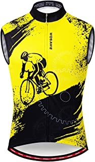 WOSAWE Men's Cycling Sleeveless Jersey Biking Racing Top Vest with Rear Pockets