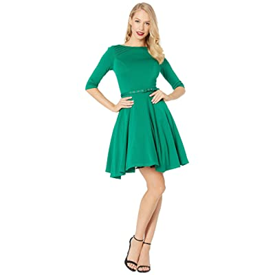 Unique Vintage Knit Flare Dress (Green) Women