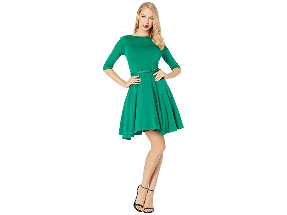 Unique Vintage Knit Flare Dress (Green) Women