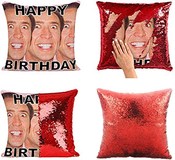 KISSBUTY Mermaid Pillow Cover Magic Reversible Sequin Pillow Cover Throw Cushion Case Decorative Pillowcase That Change Color Nicolas Cage Pillow Cover