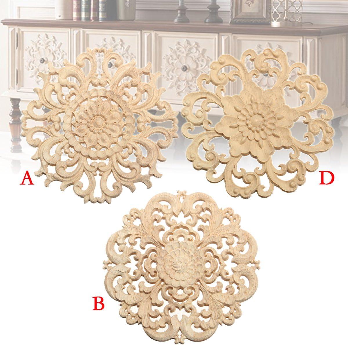 Europ/äischen Stil Holz Applique Handwerk M/öbel Woodcarving Ecke Dekoration Typ A 15cm