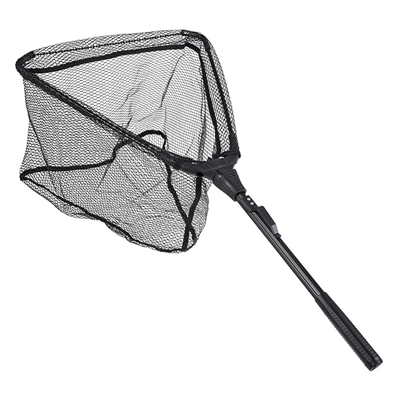 Folding Fish Landing Net Portable Collapsible Triangular Fly Fishing Net Fish Catching or Releasing S/M
