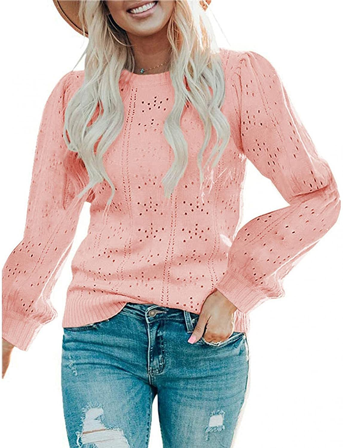 Forwelly Womens Puff Long Sleeve Sweaters Tops Fall Soft Crew Neck Dot Pullover Shirt Lightweight Knit Sweater Blouse