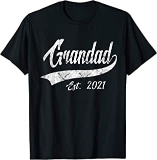 Mens Vintage Grandad Grandpa Est. 2021 New Grandfather T-Shirt