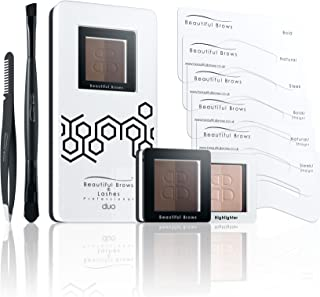 Beautiful Brows Duo 13 Piece Eyebrow Stencil Kit – 6 Brow Stencils,1 Duo Brow Powder (Dark/Chocolate Brown),1 Duo Applicator and Volumizing Brush,1 Duo Highlighter (Shimmer/Matte) with Brush, Precision Tip Tweezers with Brow Brush,Compact Magnifying Mirror