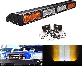 Lightronic 22 Inch 12-24V 120W Amber Flood & White Spot Combo Beam Black Coating CREE LED Light Bar (1 Pack)