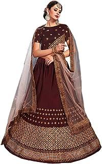Ethnicset Women's Silk Satin Lehenga Choli (Brown,Free Size, Semi-Stitched)