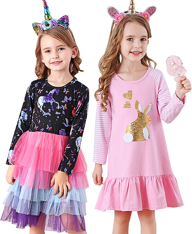 VIKITA Casual Girls Dresses 2pcs LH0330+LH4593 8T