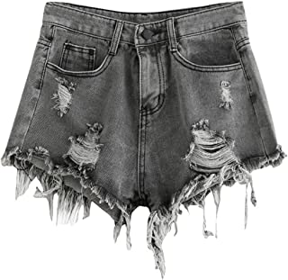 MAKEMECHIC Women's Frayed Raw Hem Ripped Distressed Denim...