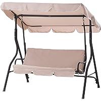 Sunjoy Clio Porch Swing Chair for Patio (Beige)