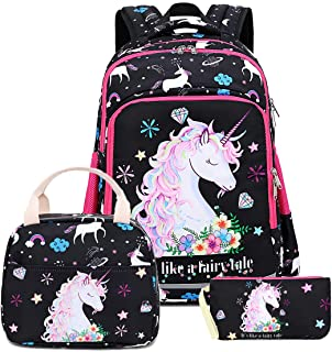 Girls Backpack Kids Elementary Bookbag Girly School Bag with Insulated Lunch Tote and Pencil Pouch
