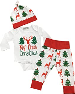 My First Christmas Newborn Costumes Clothes Toddler Baby Girls Boys Clothing Long Sleeve Infant Outfits Set