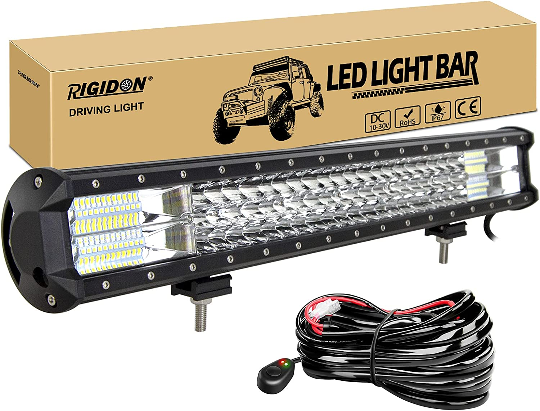 RIGIDON Barra de luz led, 12V 24V 23 pulgadas 324W, 7D Tri fila Barras luminosas led y kit de cableado para off road camión coche ATV SUV 4x4 barco, Foco Inundación Combo, lámpara de conducción 6000K