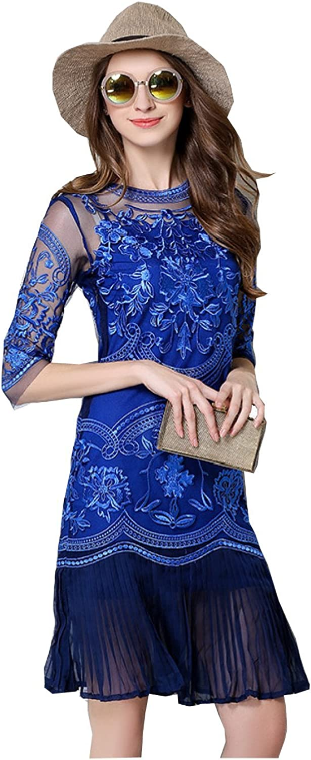 Desimpler Women's Half Sleeve Floral Lace Embroidery Mini Sheath Cocktail Party Dress