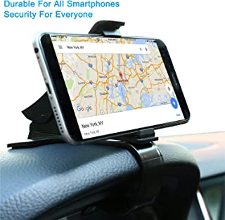 Dashboard Mounted HUD Phone Holder for iPhone Samsung Galaxy Motorola - Nonslip Rotary Offset GPS Navigation Mount with Enhanced Sticky Adhesive Base, Spring Rubber Clip, Lookahead Vision