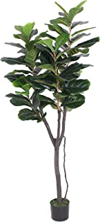 AMERIQUE Gorgeous 6 Feet Fiddle Leaf Fig Tree Artificial Silk Plant with UV Protection, Pre Nursery Pot, Feel Real Technology, Super Quality, Green