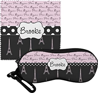 Paris Bonjour and Eiffel Tower Eyeglass Case & Cloth (Personalized)