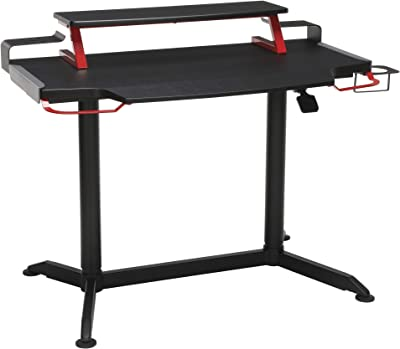 """RESPAWN 3000 Computer Ergonomic Height Adjustable Gaming Desk, in Red (RSP-3000-RED), 23.625"""" D x 42"""" W x 33.5""""-49.5"""" H"""