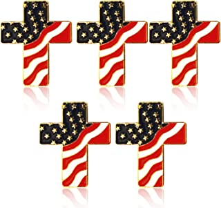 5-Pack American Flag Cross Pins