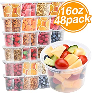 Glotoch Food Storage Containers with Airtight Lids 16 oz 48packs- Restaurant Deli Containers/Great for Party Supplies, Meal Prep and Portion Control - Leakproof and Microwave/Dishwasher/Freezer Safe
