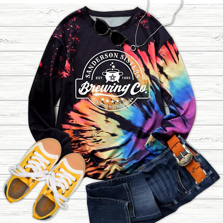 Women Tie Dye Print Sweatshirts Color Block Long Sleeve Pullover Comfy Loose Soft Casual Crewneck T Shirts Tops
