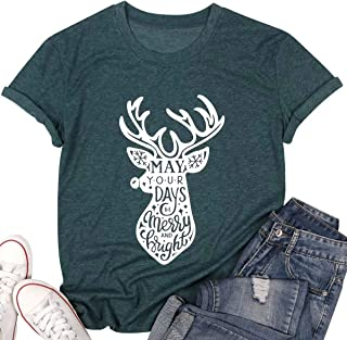 LUKYCILD May Your Days Be Merry Bright Shirt Top Women Reindeer Print Short Sleeve Christmas Xmas Funny T Shirt Tee