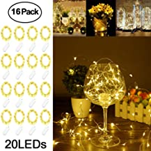 Adecorty Fairy Lights Battery Operated Mini Lights Battery Powered Fairy String Lights 16 Pack 7.2ft 20 LED Mini Battery Lights Firefly Lights for Wedding Crafts Table Reception Jars Vases Christmas