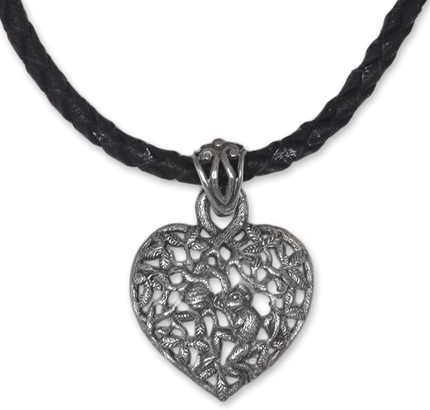 NOVICA Houston Mall .925 Sterling Silver Super sale period limited Heart on Leat Pendant Black Necklace