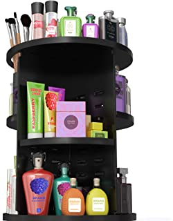360 Degree Rotating Makeup Organizer - Cosmetic Carousel for Bathroom – Beauty Makeup Organizers Countertop - Spinning Vanity Storage Stand - Revolving Rotation Adjustable Black Cosmetics Holder