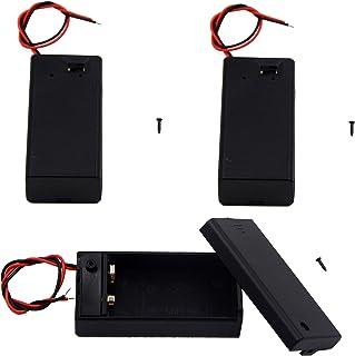 LAMPVPATH (Pack of 3 9v Battery Holder, 9 Volt Battery Holder with Switch, 9v Battery Case with Switch