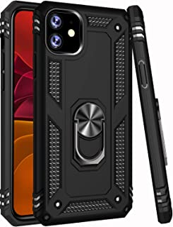 iPhone 11 Case,15ft Drop Tested,LUMARKE Military Grade Shockproof Dual Layer Plastic TPU Cover with Metal Kickstand Protective Phone Case for iPhone 11 6.1 inch 2019 Black
