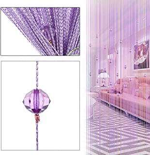 String Curtain Panel, Colorful Beads Door Wall Window Doorways Panel Fly Screen Fringe Room Divider Blinds, Decorative Tassel Ribbon Strip Screen Living Room, Bedroom, Party Events (Purple)