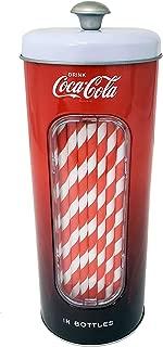 The Tin Box Company Coke Holder Tin with 20 Paper Straws Coca Cola, Red