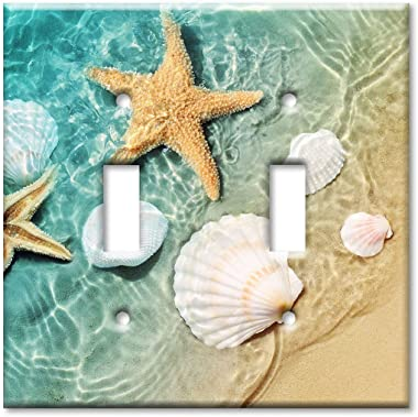 Art Plates - Double Gang Toggle Switch/Wall Plate - Sea Shells and Star Fish in Ocean Beach Tide Pool