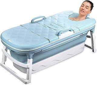 54 inches Large Portable Foldable Bathtub Soak 3-Stage Tub for Adult/Children/Toddlers Efficient Maintenance of Temperature Bath Tub SPA & Foot Massage EuroBath Plastic Non-slip Blue