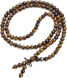 Joya curadora Qgem, 108cuentas pulsera de Buda, cadena de oración budista, tibetana de piedras preciosas, Yoga, Buda, Mal...